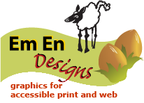 Em En Designs graphics for accessible print and web logo: a prancing sheep and two hazel nuts